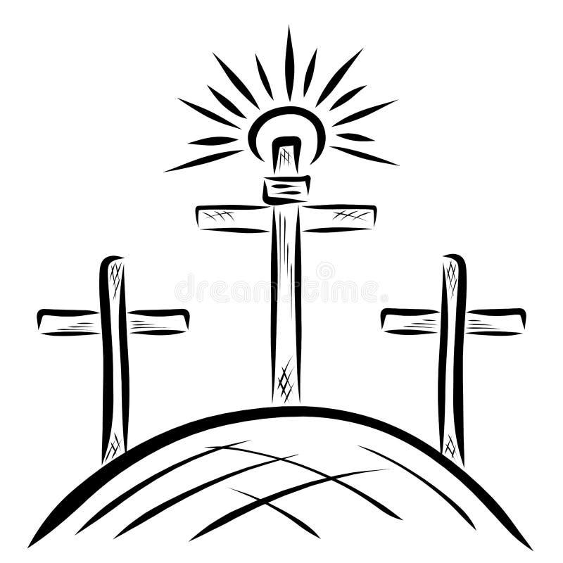 Tre kors på calvaryen och solen royaltyfri illustrationer