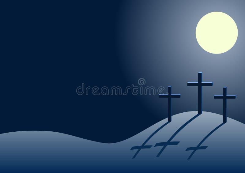 Tre kors på calvaryen på natten royaltyfri illustrationer