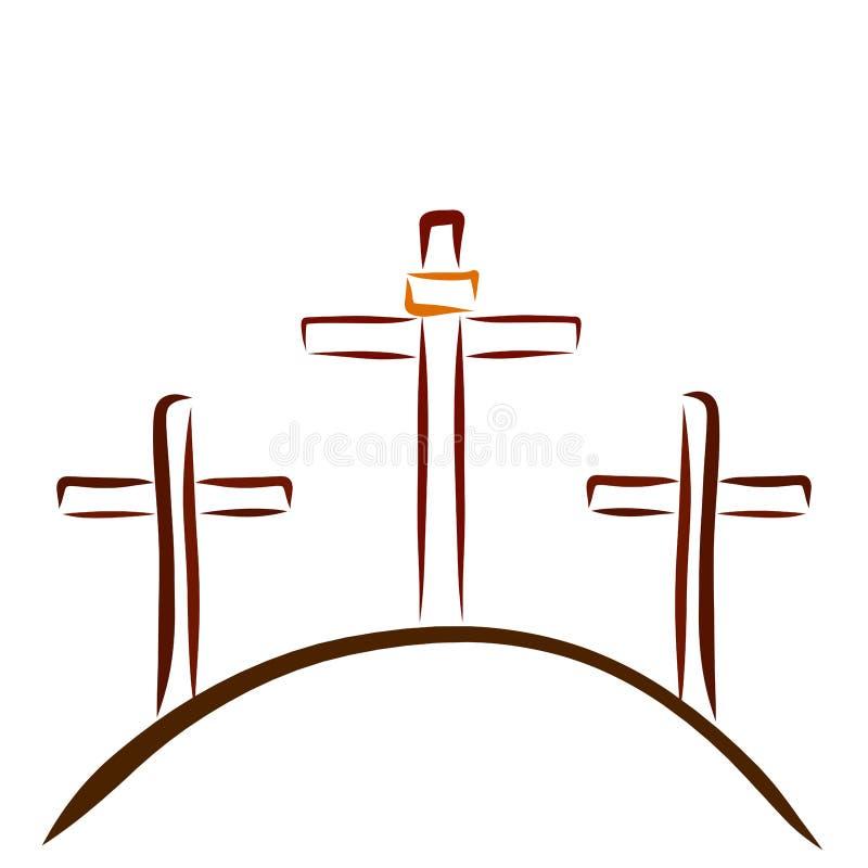 Tre kors på kullen, Golgotha royaltyfri illustrationer