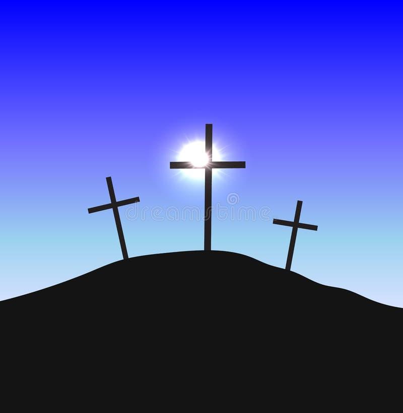 Tre kors som står på Golgotha vektor illustrationer
