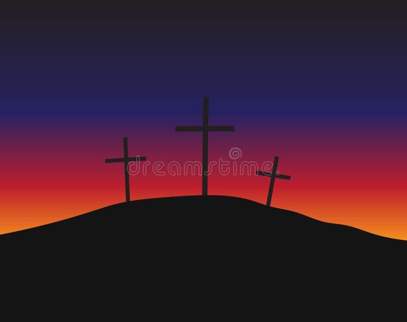 Tre kors som står på Golgotha stock illustrationer