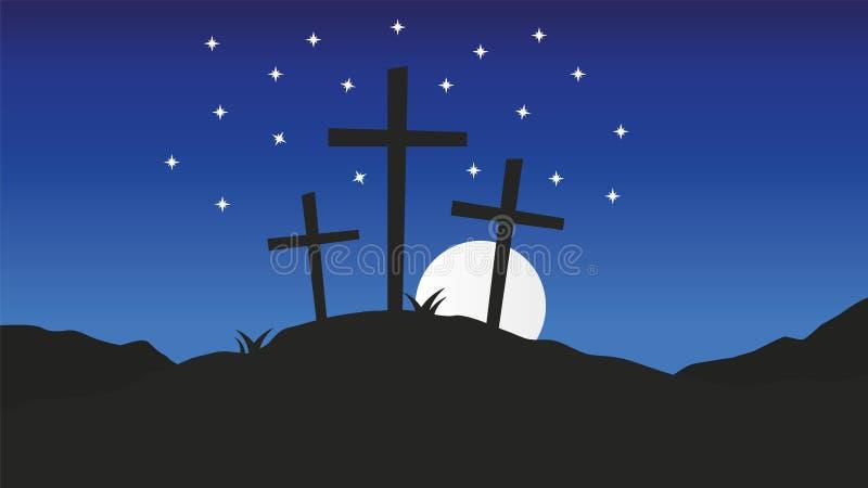Tre kors som står på Golgotha För vektorbakgrund för långfredag kristen illustration vektor illustrationer