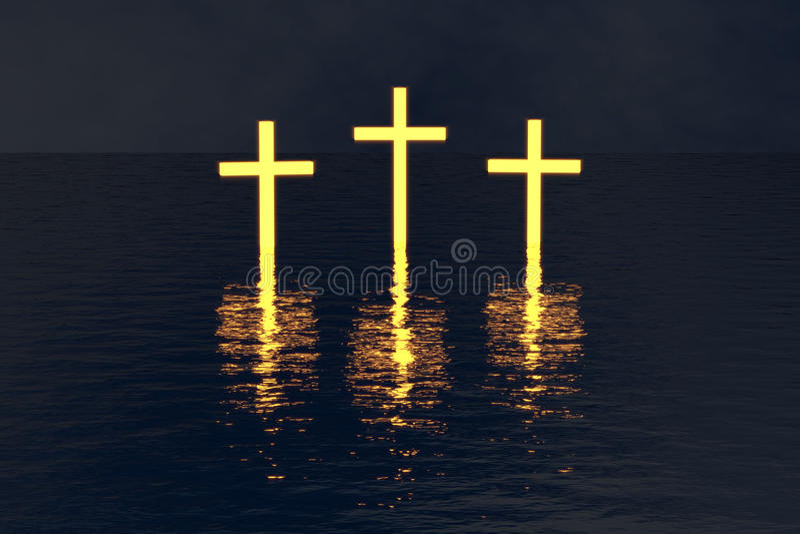Tre korsar över vatten som glöder i mörker royaltyfria foton