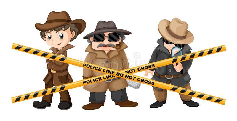 Tre kriminalare som söker efter ledtrådar royaltyfri illustrationer