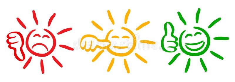 Tre kulör sol med värderingtummar, fastställd sinnesrörelse, tecknad filmemoticonssol - för materiel royaltyfri illustrationer