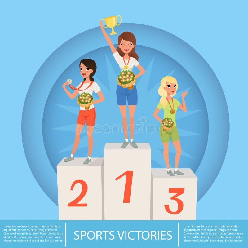 Tre kvinnliga idrottsman nen med trofén och medaljer på sockel royaltyfri illustrationer