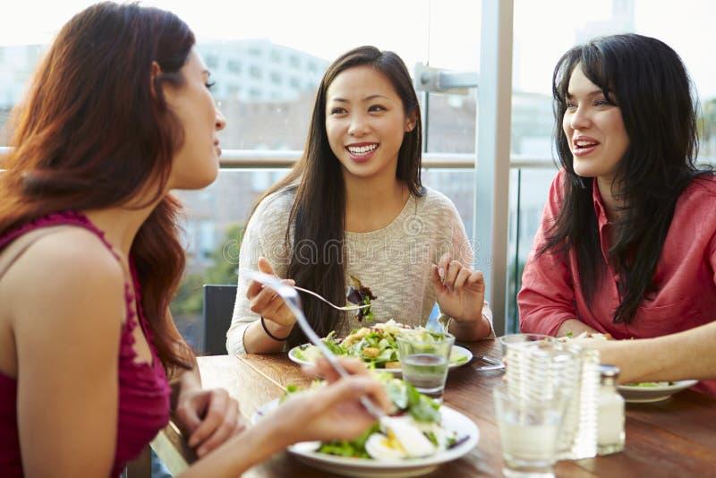 Tre kvinnliga vänner som tycker om lunch på takrestaurangen royaltyfri foto