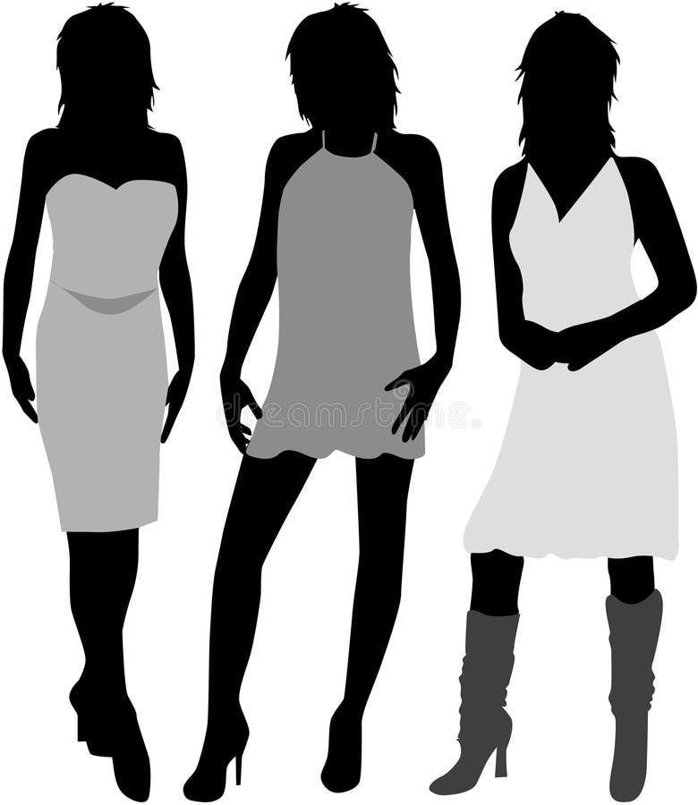 tre kvinnor stock illustrationer