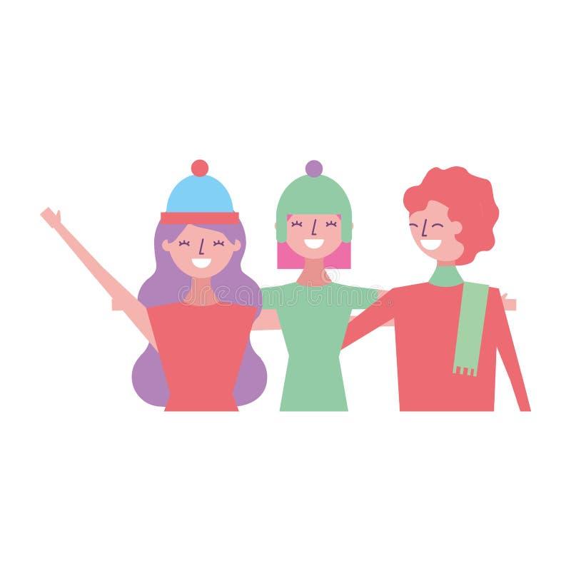 Tre kvinnor som kramar vänner stock illustrationer