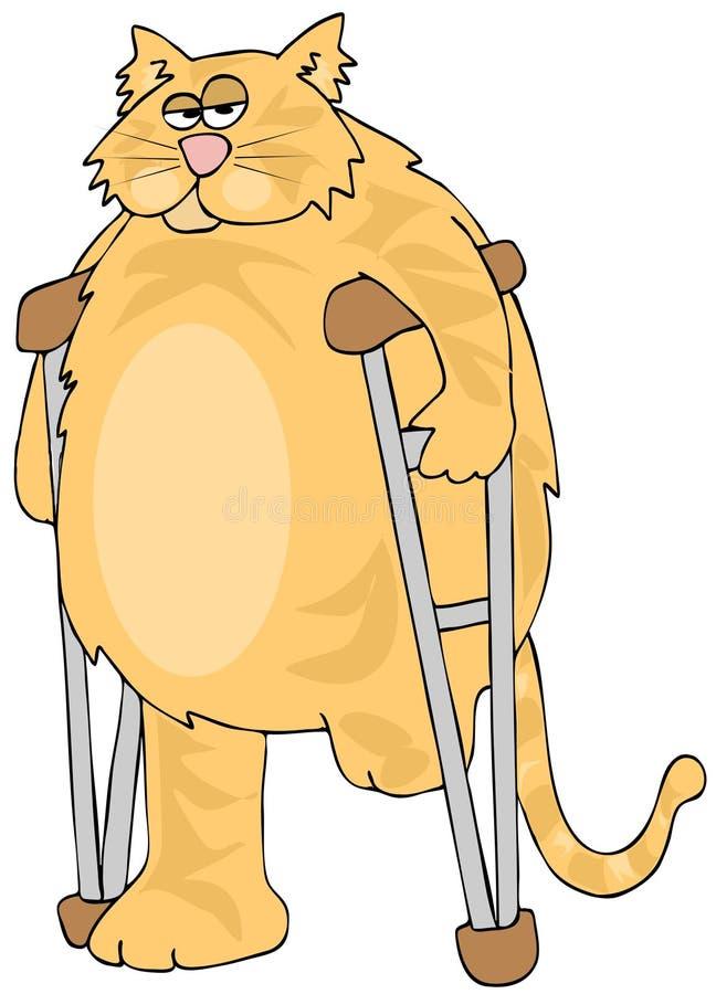 Tre-lagd benen på ryggen katt på kryckor stock illustrationer