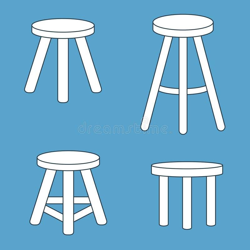 Tre lagd benen på ryggen stoluppsättning vektor illustrationer