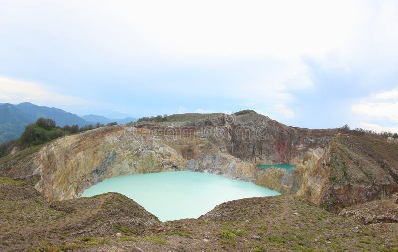 Tre laghi colorati scenici Kelimutu, Ende fotografia stock libera da diritti