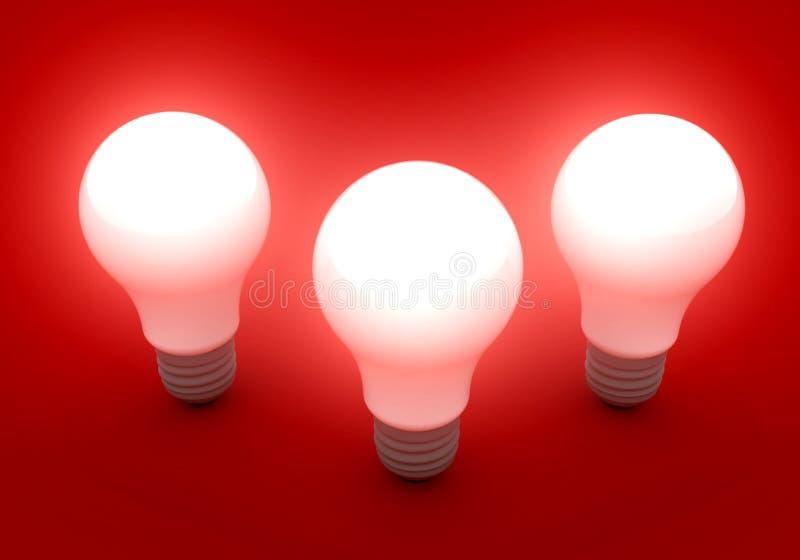 Tre lampadine luminose illustrazione vettoriale