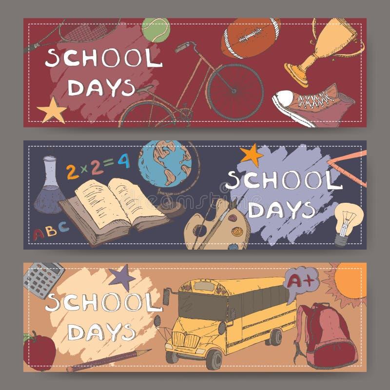 Tre landskapbaner med skolan släkt färg skissar stock illustrationer