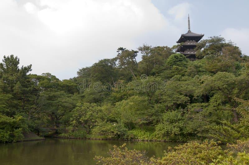 Tre-leggendario in Sankei-en japaneese del giardino, Yokohama, Giappone immagine stock libera da diritti