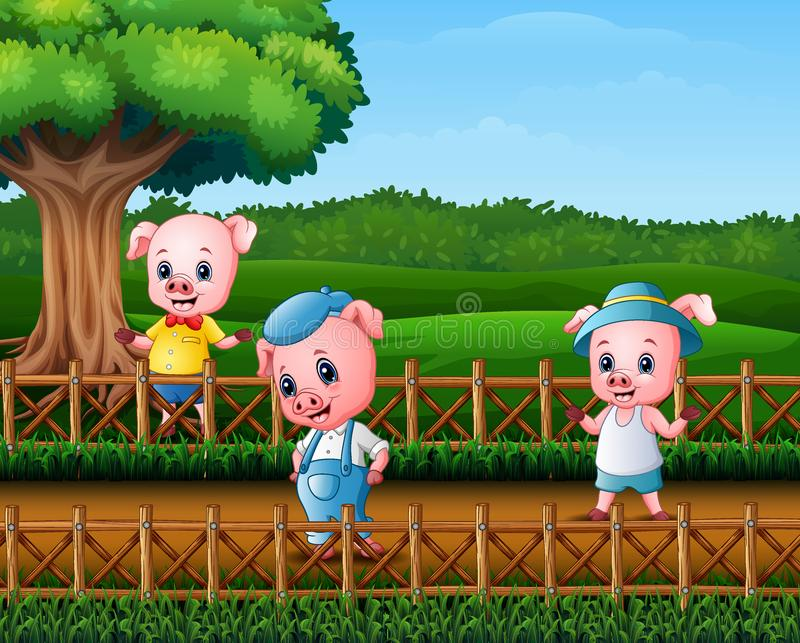 Tre lilla svin som gör aktivitet royaltyfri illustrationer