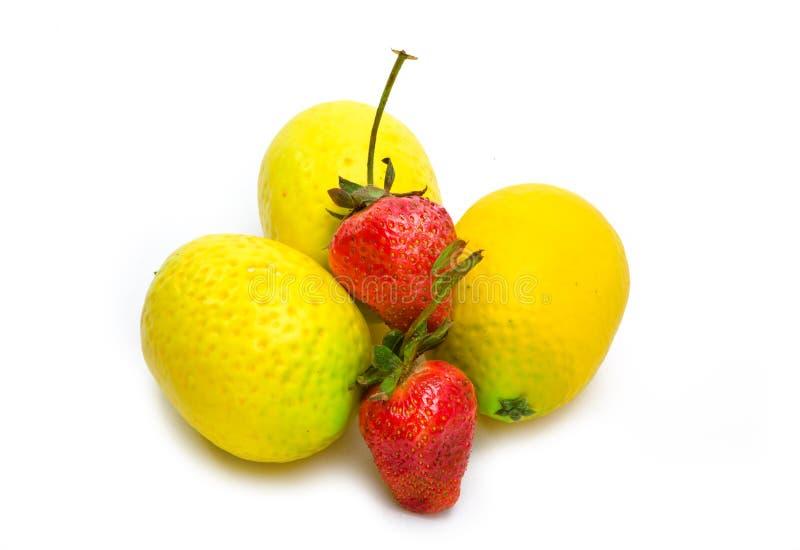 Tre limoni e due bacche della fragola immagine stock libera da diritti