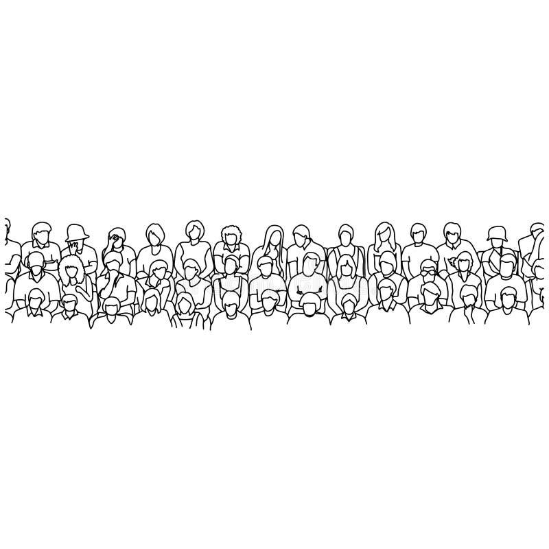 Tre linee di gente che si siede sullo scarabocchio di schizzo dell'illustrazione di vettore dello stadio disegnato a mano con le  royalty illustrazione gratis