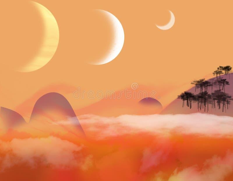 Tre lune royalty illustrazione gratis