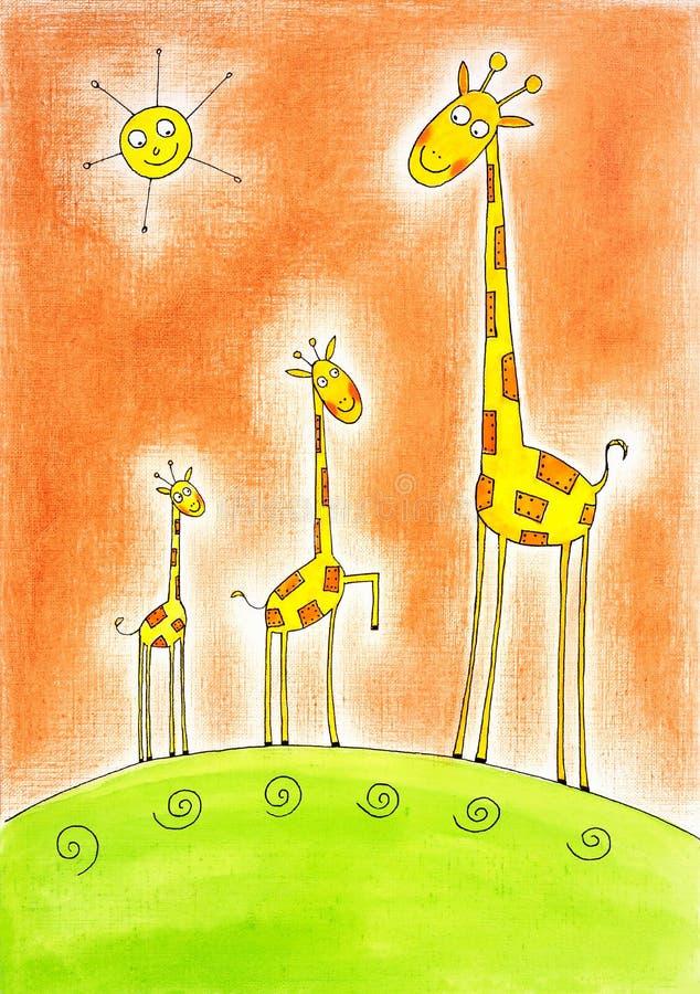 Tre lyckliga giraff, barn som drar, vattenfärgmålning stock illustrationer
