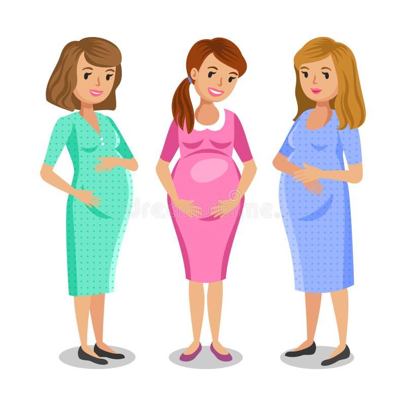 Tre lyckliga gravida kvinnor Moderskap och vänbegrepp stock illustrationer