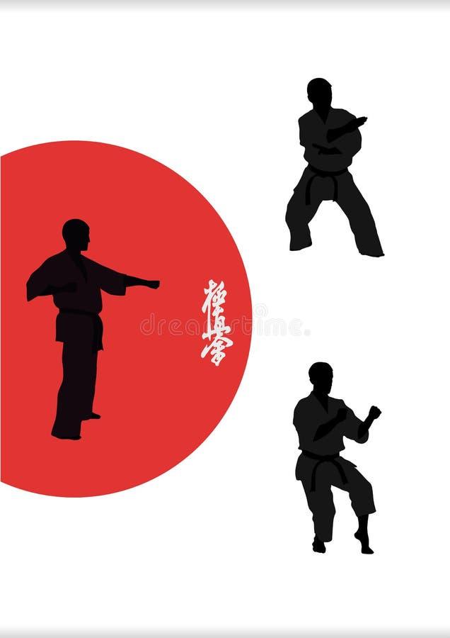 tre män är förlovade i karate på en vit backgro royaltyfri illustrationer