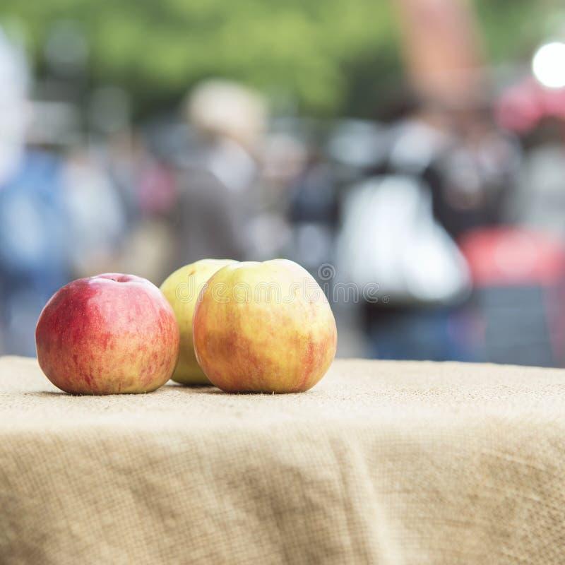 Tre mång--färgade mogna äpplen ligger på en texturerad bordduk som arkivbilder