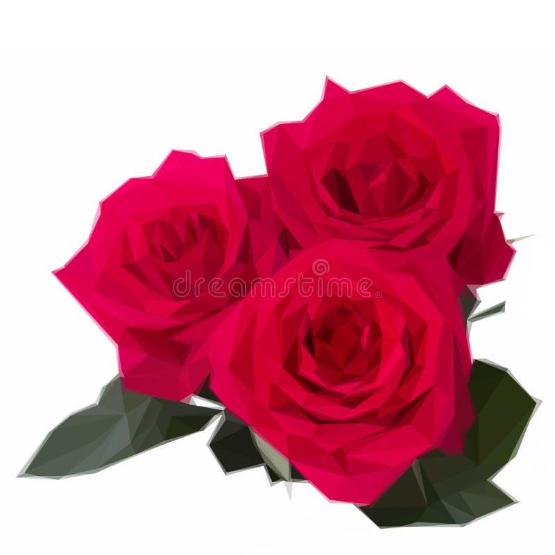 Tre mörka rosa rosor stock illustrationer