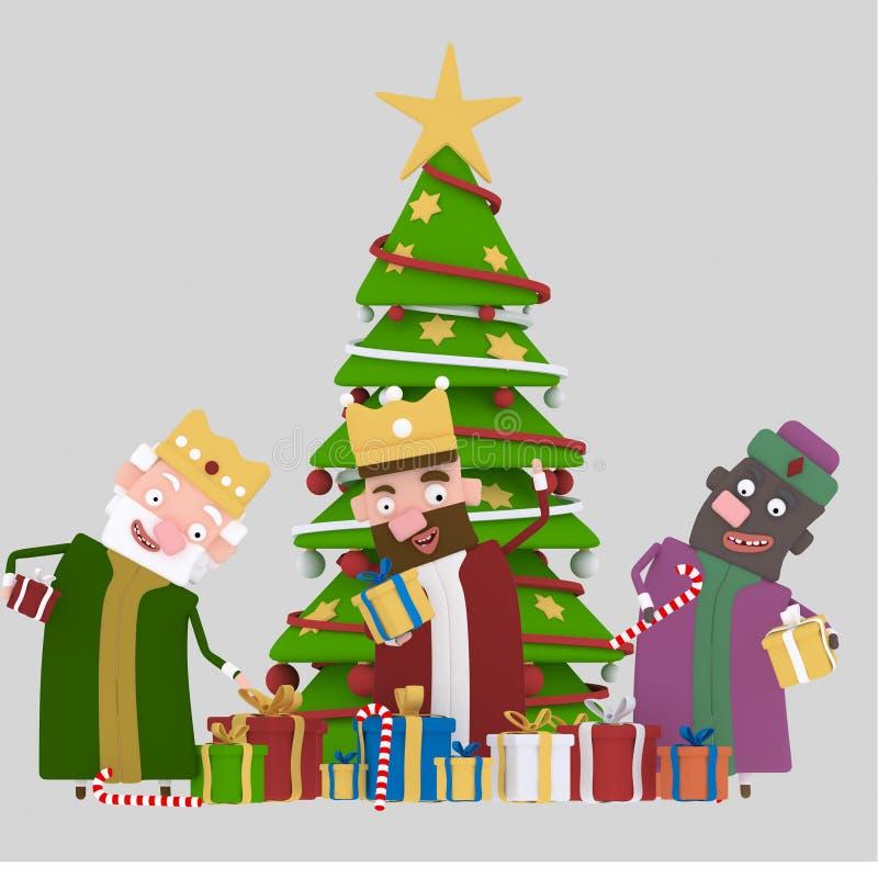 Tre magiska konungar och julgran 3d stock illustrationer