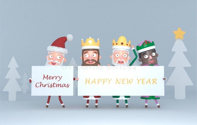 Tre magiska konungar och Santa Claus som rymmer ett plakat med hälsningar illustration 3d stock illustrationer