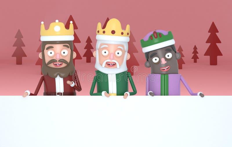 Tre magiska konungar rymma stora vita plakat i en röd forest3d-illustration stock illustrationer