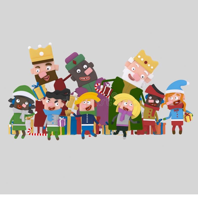 Tre magiska konungar som gifting barn 3d stock illustrationer