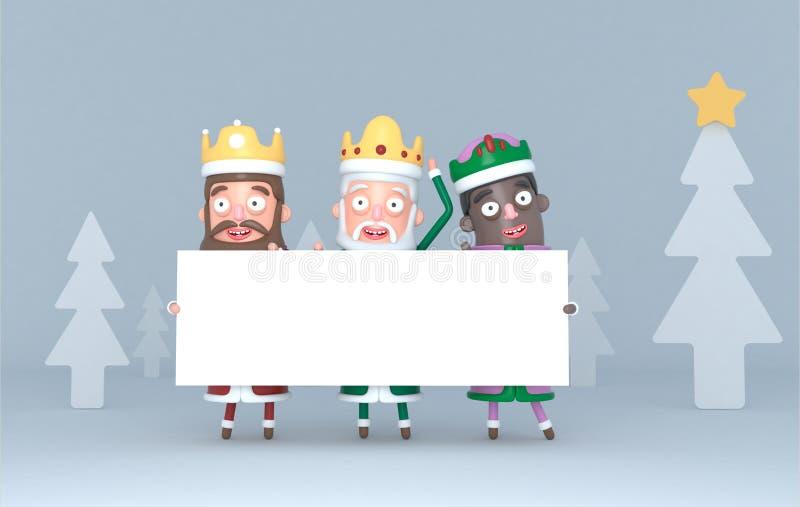 Tre magiska konungar som rymmer ett vitt plakat i en skog isolerat illustration 3d royaltyfri illustrationer