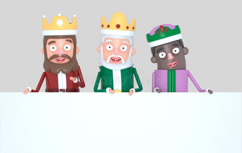 Tre magiska konungar som rymmer ett vitt plakat isolerat illustration 3d stock illustrationer