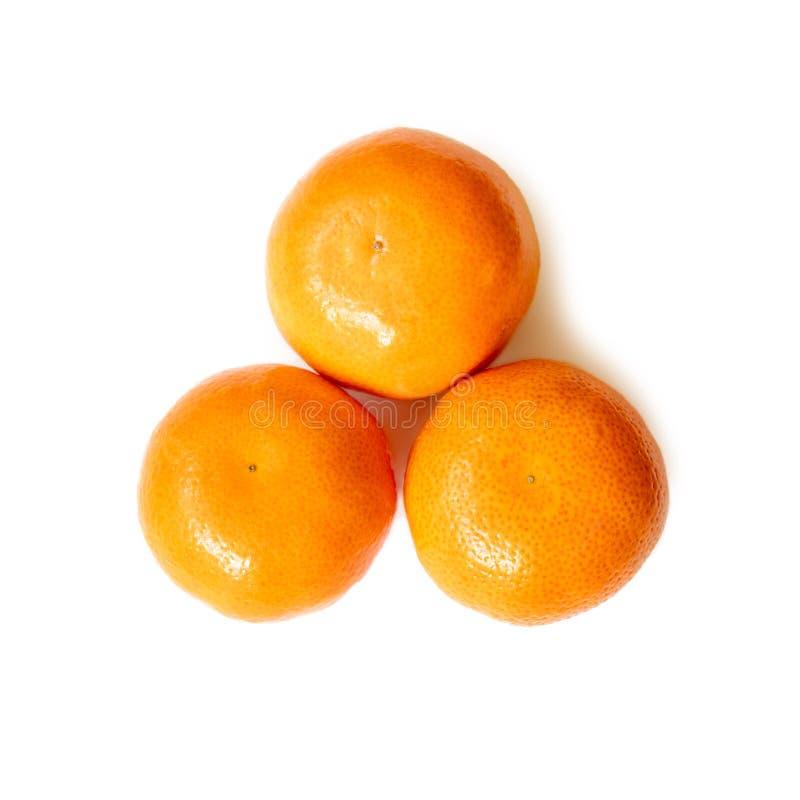 Tre mandarini o mandarini succosi saporiti freschi maturi della clementina isolati su bianco fotografia stock libera da diritti