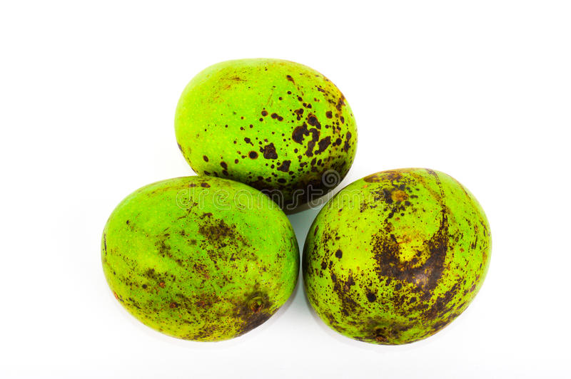 Tre manghi tropicali su fondo bianco fotografie stock libere da diritti