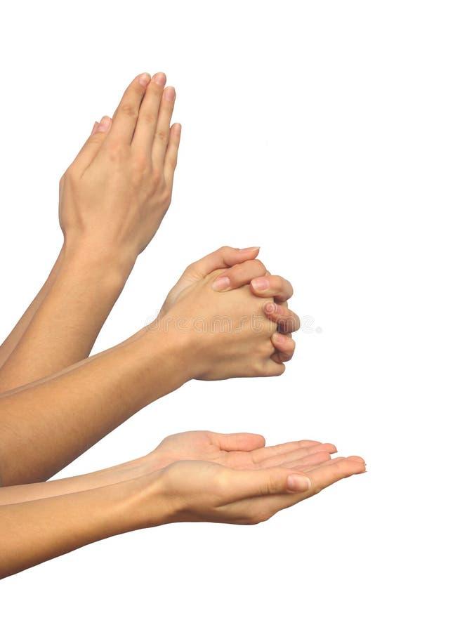 Tre mani di preghiera immagini stock libere da diritti