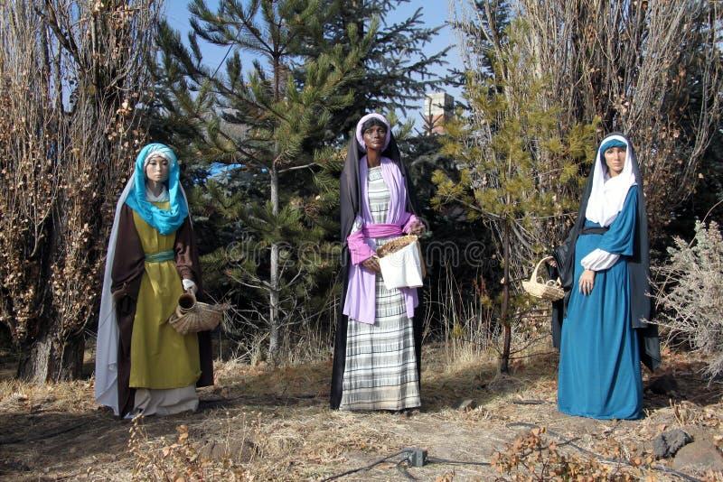 Tre manichini biblici delle donne fotografia stock