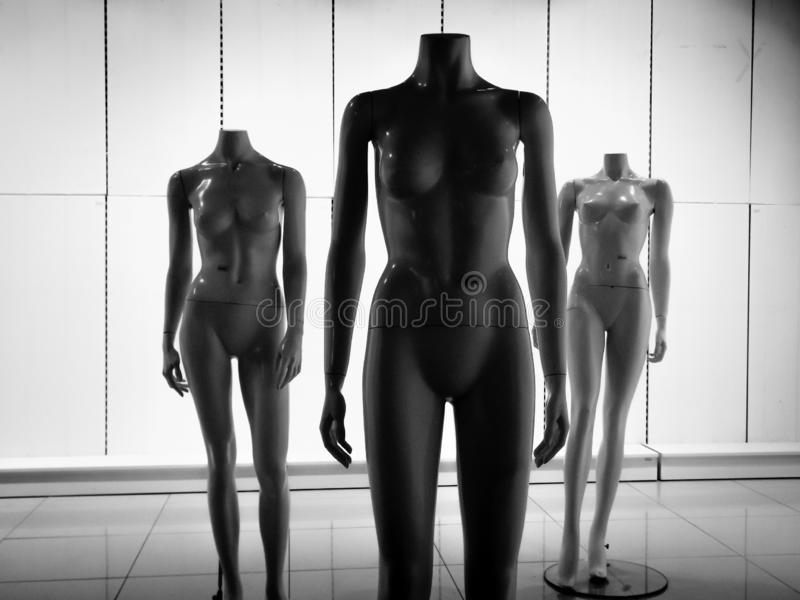 Tre manichini di plastica femminili della fibra immagine stock libera da diritti