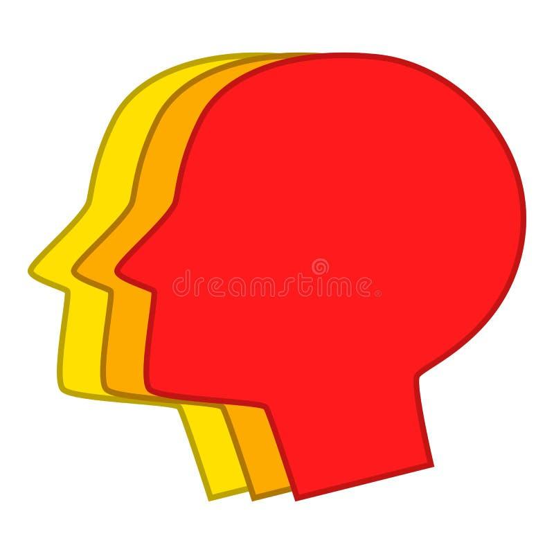 Tre manliga head konturer symbol, tecknad filmstil vektor illustrationer