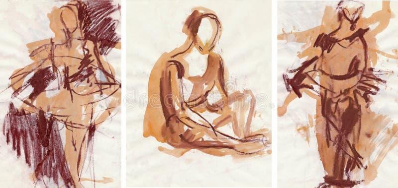 Tre maschere con le pose di balletto royalty illustrazione gratis