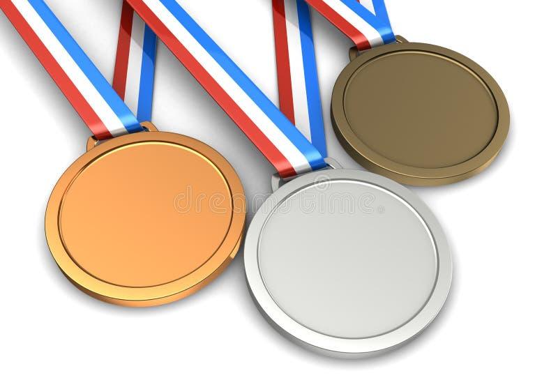 Tre medaljer vektor illustrationer