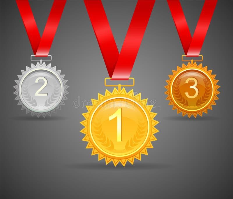 Tre medaljer för utmärkelser royaltyfri illustrationer