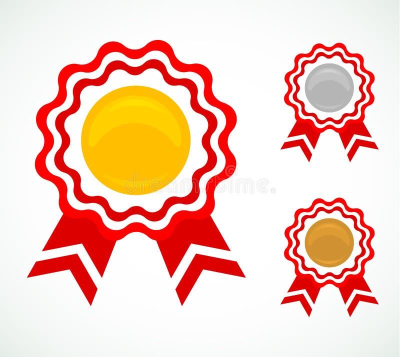 Tre medaljer för utmärkelser stock illustrationer