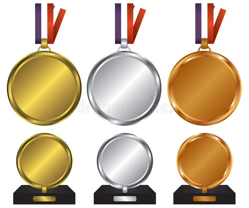 Tre medaljer för vinnarna stock illustrationer