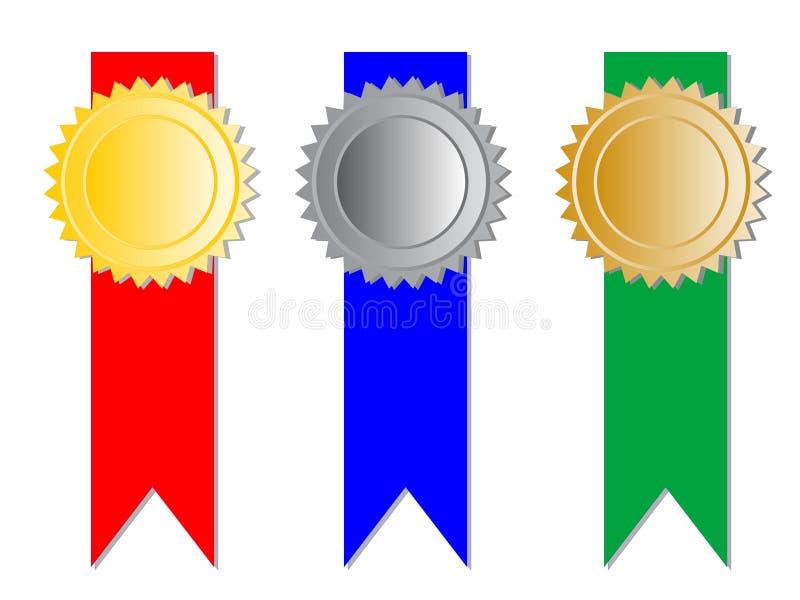Tre medaljer med band vektor illustrationer