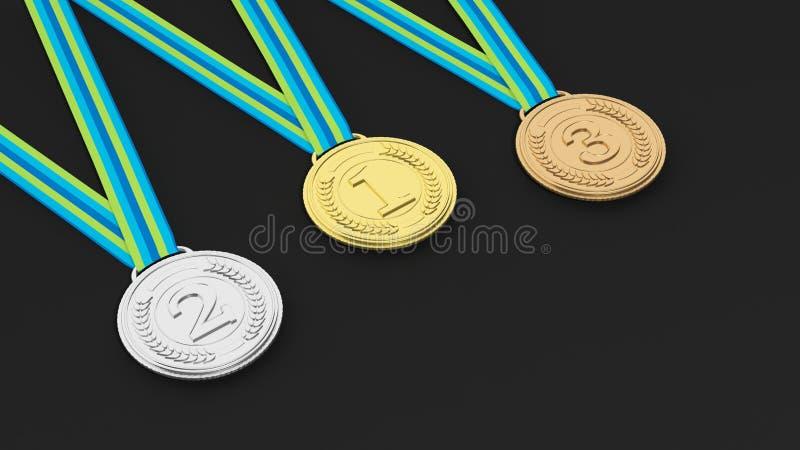 Tre medaljer på svart bakgrund vektor illustrationer