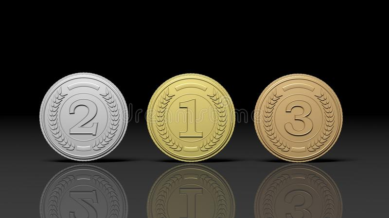 Tre medaljer på svart bakgrund royaltyfri illustrationer
