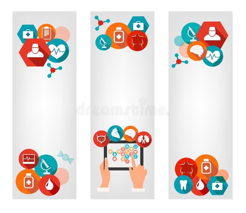 Tre medicinska baner med färgrika symboler stock illustrationer