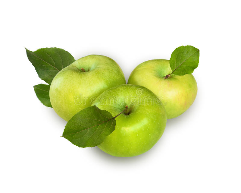 Tre mele con le foglie sui precedenti bianchi immagini stock